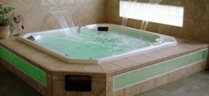 Custom Spa with glass blocks & lighting